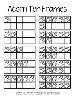 Ten Frames with Acorns - Color and B&W