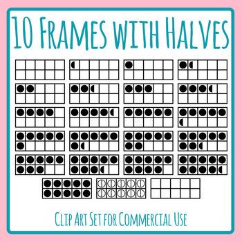 Ten Frames with Halves Included / Half Dot 10 Frames Clip Art Set Commercial Use