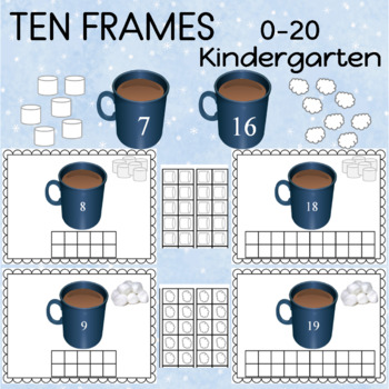 Ten Frames with Hot Chocolate 0-20 TWO SETS laminate color