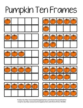 Ten Frames with Pumpkins - Color and B&W