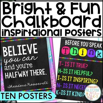 Ten Fun, Bright, & Inspirational Posters {Chalkboard Theme}