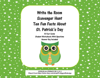 Ten Fun facts About St.Patrick's Day- Scavenger Hunt- Read The Room- Grades 3-5