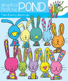 Ten Funny Bunnies Clipart Set