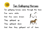 Ten Galloping Horses poem and pocket chart