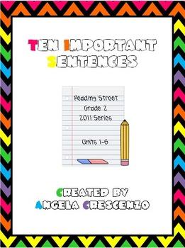 Ten Important Sentences Bundle Reading Street Grade 2