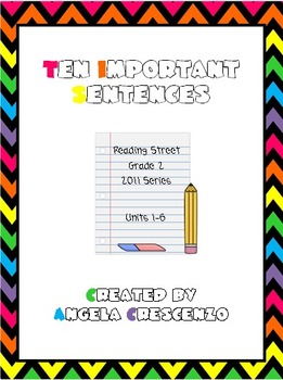 Ten Important Sentences Bundle Reading Street Grade 2