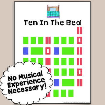 Ten In The Bed Color-Coded Piano Song Sheet