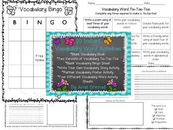 Ten Instant Vocabulary Word Activities