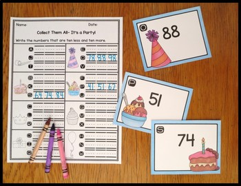 Ten Less/ Ten More It's A Party Task Card Activity