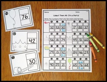 Ten Less/ Ten More It's A Party Task Card Activity