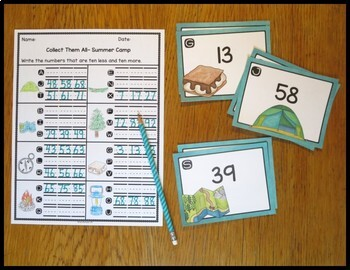 Ten Less/ Ten More Summer Camp Task Card Activity