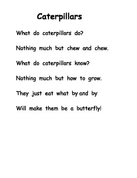 Ten Little Caterpillars Plan Poetry Sequence Comparison Very Hungry Caterpillar