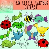 Ten Little Ladybugs Clipart - Color and Black and White