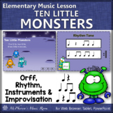 Elementary Music Lesson ~ Ten Little Monsters: Orff, Rhythm & Improvisation