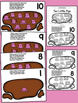 Ten Little Pigs Rhyme: Pocket Chart & Book