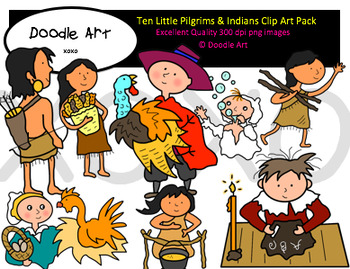 Ten Little Pilgrims and Indians Clipart Pack