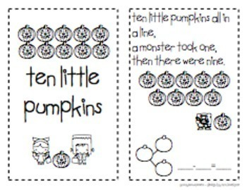Ten Little Pumpkins:  Common Core - decomposing numbers, number bonds, counting