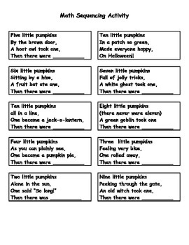 Ten Little Pumpkins Creating a Halloween Math Poem Activity