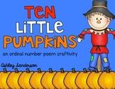 Ten Little Pumpkins {ordinal number craftivity}