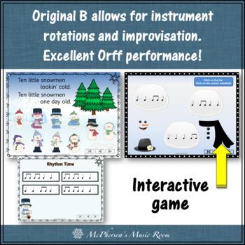 Winter Music Lesson ~ Ten Little Snowmen: Orff, Rhythm, Instruments and Game