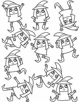 Ten Little Witches Clipart