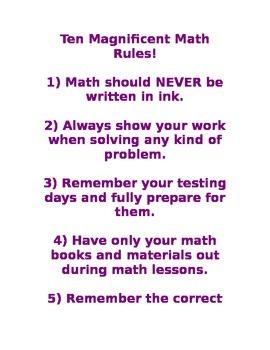 Ten Magnificent Math Rules