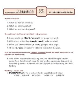 Ten-Minute Grammar: Trimester Two