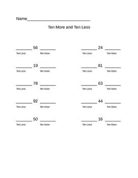 Ten More 10 Less Practice