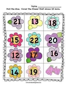 Ten More!  Flower Themed Game