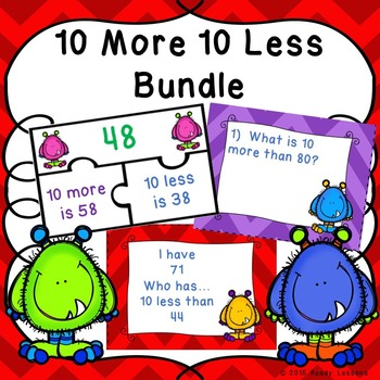 Ten More Ten Less Bundle (Puzzles, Task Cards, and I Have Who Has Game) 1.NBT.5