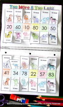 Ten More Ten Less BUNDLE, 1st Grade Math Review, Addition and Subtraction
