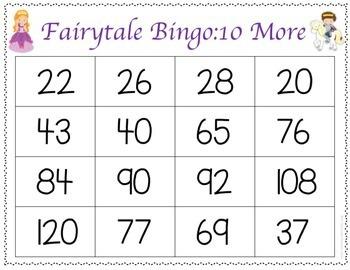 Fairytale Ten More and Ten Less Bingo