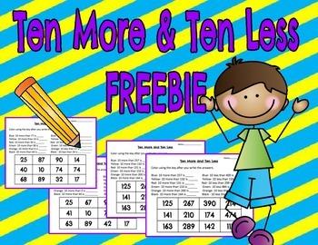 Ten More & Ten Less FREEBIE
