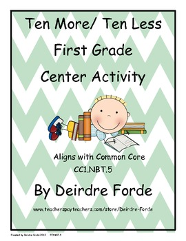 Ten More Ten Less First Grade Center Activity
