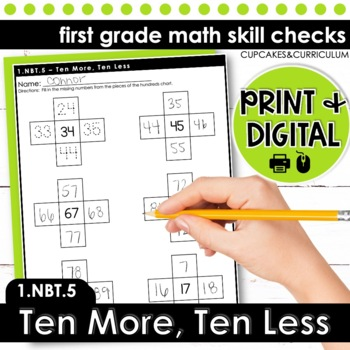 Ten More, Ten Less - First Grade Print and Go