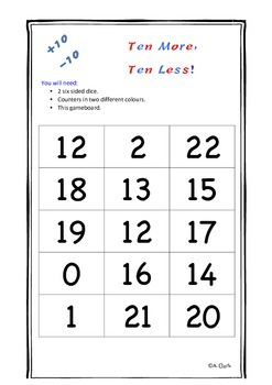 Ten More, Ten Less Game