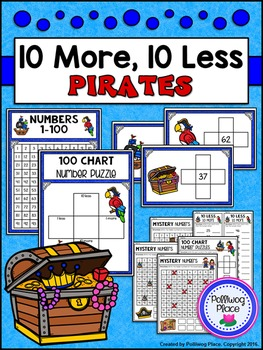 10 More 10 Less Hundred Chart Puzzles: Pirates