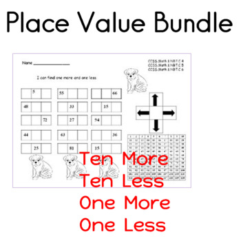 Place Value Worksheet Bundle  Ten More, Ten Less, One More and One Less