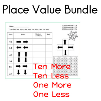 place value ten more ten less one more and one less tpt. Black Bedroom Furniture Sets. Home Design Ideas