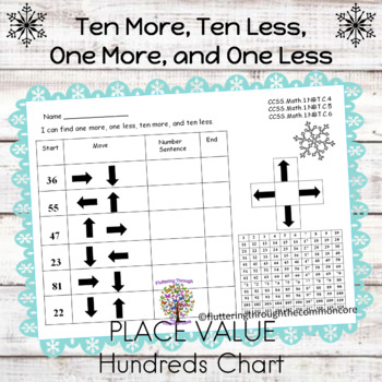 Ten More, Ten Less, One More, and One Less on a Hundreds Chart Set 5