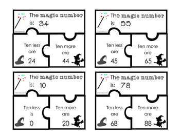 Ten More Ten Less Puzzle Freebie (English Version)