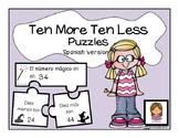 Ten More Ten Less Puzzle Freebie (Spanish Version)