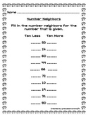 Ten More Ten Less  Worksheet/Center