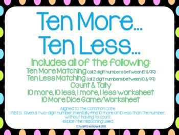 Ten More... Ten Less... a math center