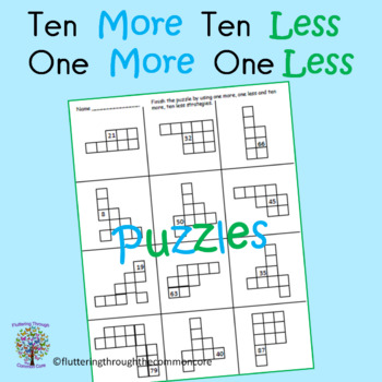PLACE VALUE Ten More, Ten Less, and One More, One Less Puzzles