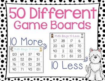 Ten More and Ten Less Bingo Game Dog Theme