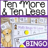 Ten More and Ten Less Math Game for First Grade Dog Theme