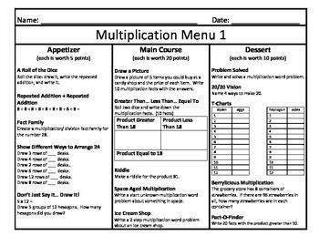 Ten Multiplication Menus (Bundle Pack)