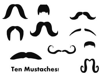Ten Mustaches: PNG Format Clipart for Personal or Commercial Use