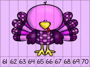 Ten Pilgrim, Turkey and Thanksgiving Number Puzzles 1-100 Math Center